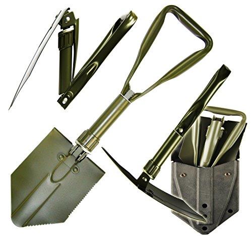 Dreiteiliger BW-Spaten mit PVC-Koppeltasche Spaten Feldspaten oliv