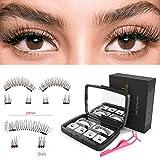 Magnetische Wimpern, Hibeauty Wimern Set Künstliche Falsche Wimpern 3D Widerverwendbare Magnetic False Eyelashes + Edestal Wimpern Applikator Pinzette