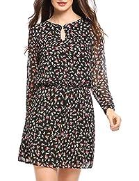 Zeagoo Damen Chiffonkleid Blumen Langarm Freizeitkleid Strandkleid Casual  Kleid Knielang A Linie 4536b402c9