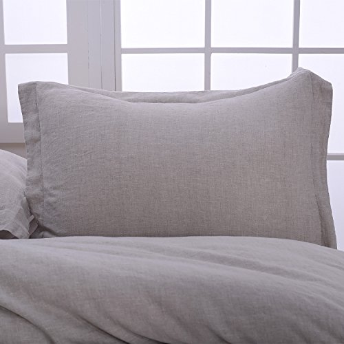 Simple&Opulence 100% Stone Washed Linen Basic Style Fashion Quilt Flax Duvet Cover Set (King, Linen)
