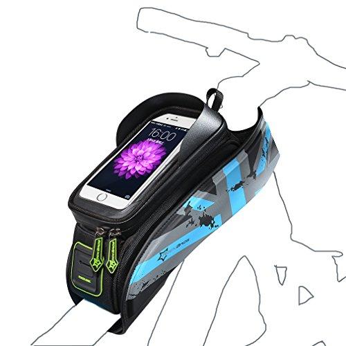RockBros Fahrrad Rahmentaschen Wasserfeste Taschen Für Bild Schirm 5.8''/6.0'' Blau