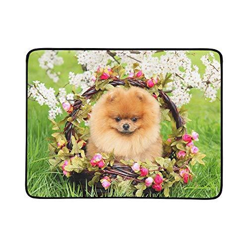 SHAOKAO Pomeranian Dog Park Netter Schöner Hund Tragbare Und Faltbare Deckenmatte 60x78 Zoll Handliche Matte Für Camping Picknick Strand Indoor Outdoor Reise -