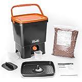 Bokashi Poubelle Organico de compostage pour déchets de cuisine - Poubelle de compostage pour micro-organismes efficaces (Noir / Orange)
