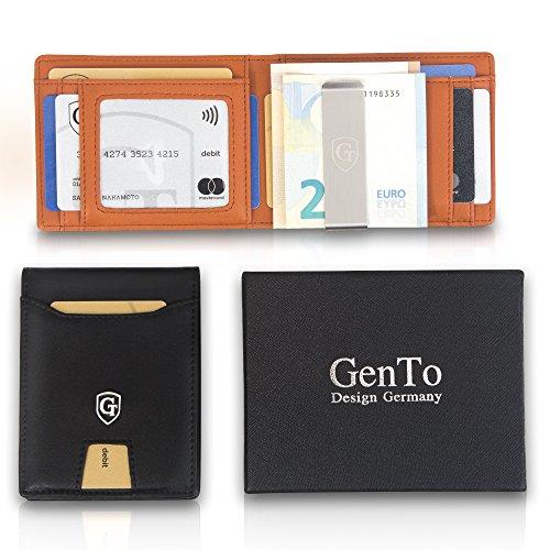 ff4ab5549959a GenTo Herren Designer-Geldbörse BERLIN mit Geldklammer und Münzfach – RFID  und NFC Schutz ...