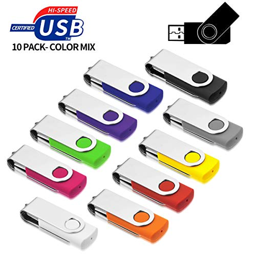 USB Stick 8GB,AreTop 10 stück Rotate Metall USB-Stick Mehrfarbig high Speed USB 2.0 (Mehrfarbig) -