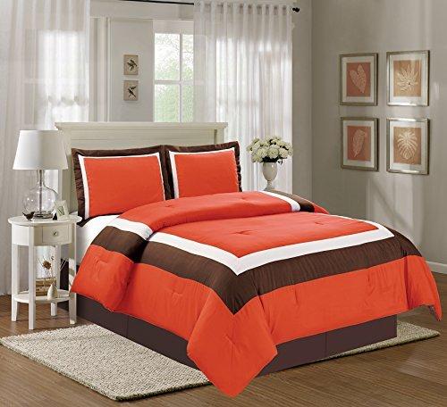 4Stück Queen Size orange/braun/beige Color Block Milan Gänsedaunen Alternative Tröster Set 228,6x 228,6cm Betten