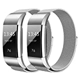 Hanlesi Fitbit Charge 2 Armband, Edelstahl Armbanduhren Watch Band Fitness für Fitbit Charge 2 (Klein, 2 pack silber)