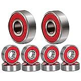 Cuscinetti per skateboard, ABEC 9 Cuscinetti per pattini a rotelle ABEC 11 608 Cuscinetti per longboard Resistenti all'acqua ad alta velocità per scooter a scatti e in linea (abec-9 (Red)-10 pack)