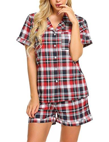 Imposes Damen Baumwolle Schlafanzug Sommer Pyjama Kurz Nachtwäsche Kurzarm Sleepwear Revers Nachtwäsche Set Lässig Sommer Hausanzug mit Knöpfen und Gummiband