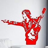 yiyitop Guitare Homme Sticker Mural pour Garçons Chambre Décoration Accessoires Amovible Vinyle Stickers Muraux Étanche Home Decor Papier Peint XL 58 cm X 41 cm