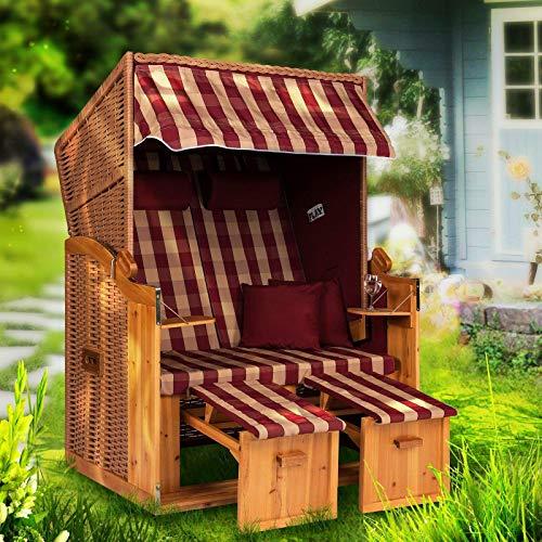Möbelcreative Strandkorb Ostsee XXL Volllieger 2 Sitzer - 120 cm breit - Burgund beige kariert inklusive Schutzhülle, ideal für Garten und Terrasse