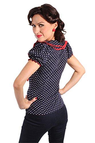 retro Style Polka Dots Rockabilly Puffärmel Schleife retro Shirt Bluse -