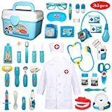 Buyger 35 Piezas Juguete de Doctora Enfermera Disfraz Cosplay de Médico Maletín Caso Dentista Clínica Dental Juego de rol Regalos para Niños (Azul)