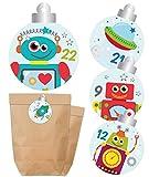 KuschelICH Adventskalender zum Befüllen - Tüten & Aufkleber - Weihnachtskalender - Papierbeutel & Sticker mit Zahlen - Für Jungs - Roboter, Weltraummotive