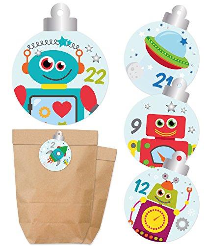 Adventskalender zum Befüllen - Tüten & Aufkleber - Weihnachtskalender - Papierbeutel & Sticker mit Zahlen - Für Jungs - Roboter, Weltraummotive - KuschelICH