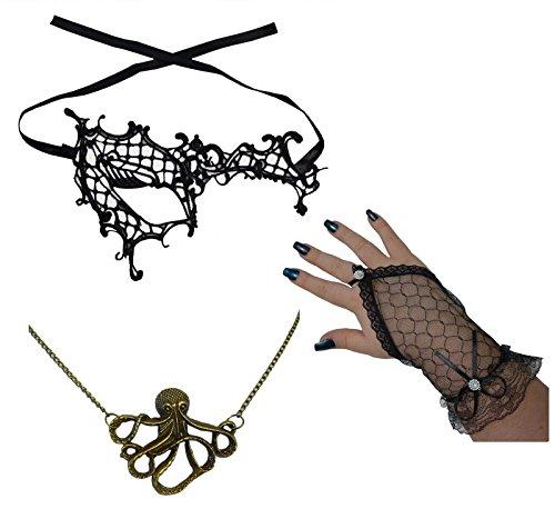 Steampunk Maskerade Piraten Auge Maske +Seemann Halskette +Fingerlose Handschuhe