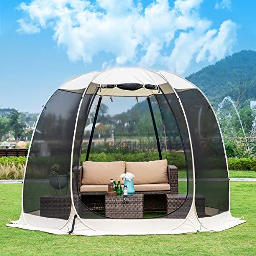Leedor Pavillons für Terrassen, für 6-8 Personen, Moskitonetz, Campingzelt, Esszimmer, Pop-Up-Sonnenschutz, Netzwände, Nicht wasserdicht, 3 x 3 m, Beige