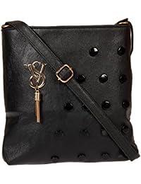 Zapatoz Women's Plain Black Leatherite Sling Bag (Sling-04-Vs-black)
