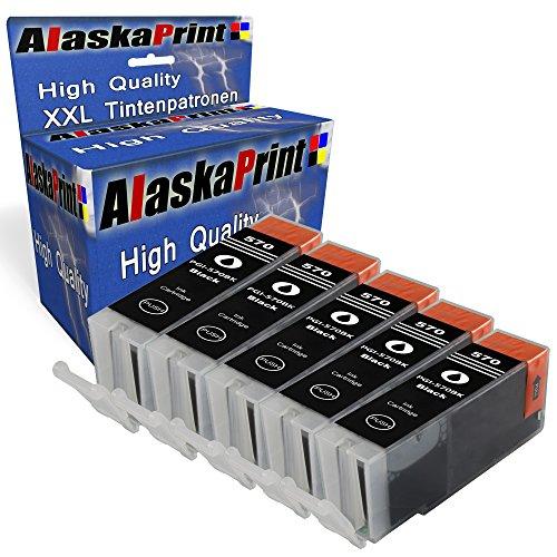 Alaskaprint 5 Druckerpatronen kompatibel für Canon PGI-570 XL PGI570XL PGI 570 XL Canon Pixma TS6000 Schwarz Black BK
