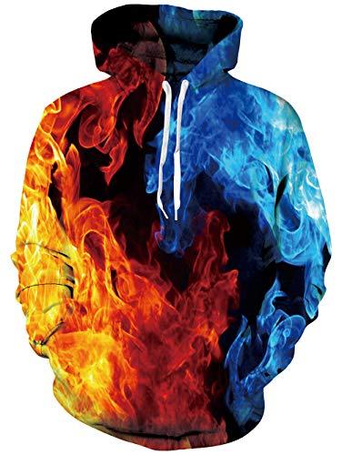 Spreadhoodie Feuer Rauch Gedruckt Jumper für Herren Damen 3D Muster Leichte Pullover Hoody Rundhalsausschnitt Sweatshirts mit Tasche Red & Blue XL