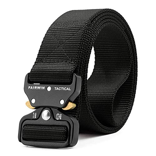 Isuper Heavy Duty Web Camouflage Belt Outdoor Tactical Belt Multi uses Military Canvas Buckle Belt Black