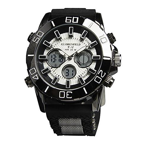 Globenfeld - Montre de sport V12 - édition limitée - boîtier en métal noir/bracelet caoutchouc - homme - garantie 5