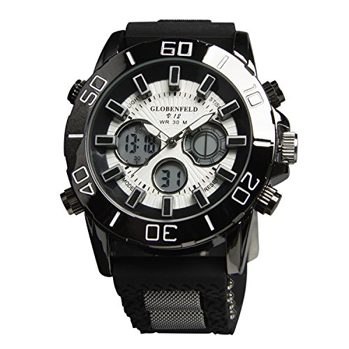Globenfeld Limited Edition V12 Mens Sports Watch with 5 Year Manufacturers Warranty, Black Metal Casing, and Durable Rubber Wrist Band