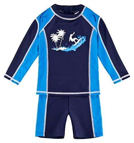 Landora®: Baby- / Kinder-Badebekleidung langärmliges UV-Schutz 2er Set in blau; Größe 86/92