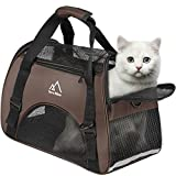Terra Hiker Small Pet Carrier, Airline Approved Under Seat for Small Dogs and Cats, Travel Bag for Small Animals with Mesh Top and Sides (Brown)