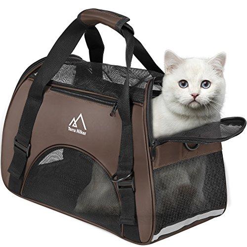 Hundetasche, Terra Hiker Hundetragetasche, Katzentragetasche, Tragetasche Transporttasche Transportbox für Kleine Hunde und Katzen Unter 5 KG (Braun)
