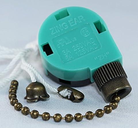 Zing Ear ZE-268S6 & ZE-208S6 Switch 3 Speed Pull Chain Control (Antique Brass) by Zing Ear