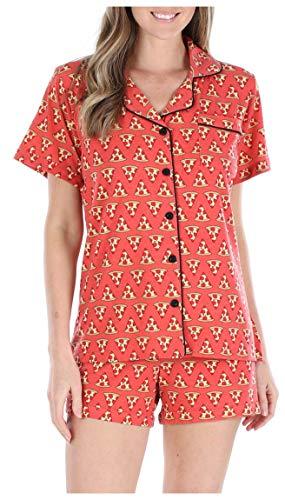 Sleepyheads Schlafanzug für Damen, Oberteil aus Jersey mit kurzen Ärmeln und Knöpfen und Kurze Hose, Pyjama (SH1927-5041-EU-XL) Oberteil Jersey
