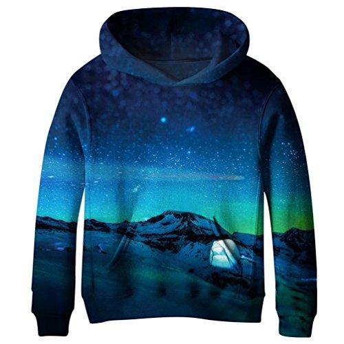 Euro Sky Big Girls Kids Blue Galaxy Pockets Sweatshirts Hooded Hoodies 4-15Y