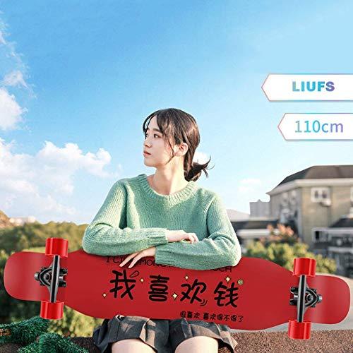 WENYAO Skateboards 43,3 Zoll Retro Professional Double Skateboard Erwachsene Anfänger Mädchen Jungen Komplettes Skateboard Longboard - Ich mag Geld