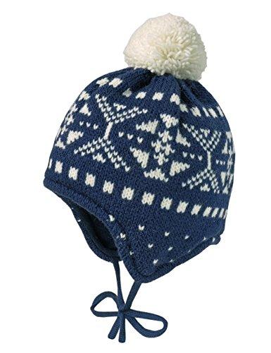 maximo Baby-Jungen Mütze Schneeflocke, Pompon, Bindeband, Mehrfarbig (Navy/Wollweiss 4838)
