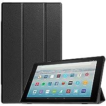 Fintie Hülle für Amazon Fire HD 10 Tablet (10-Zoll, 7. Generation - 2017) - Slim Cover Lightweight Schutzhülle Tasche mit Standfunktion und Auto Schlaf/Wach Funktion, Schwarz