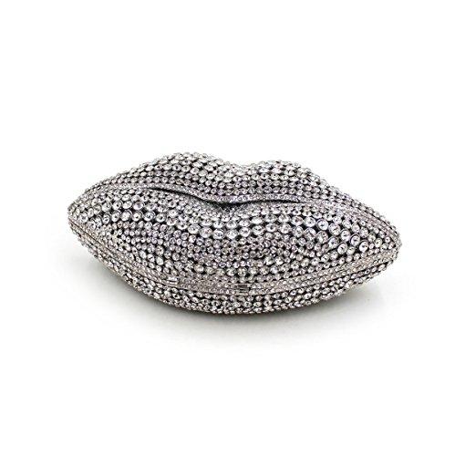 WYB Luxus Lippendiamantabendtasche / Bankett Beutel / High-End-volle Diamant-Kettenhandtasche / Kupplung Silver