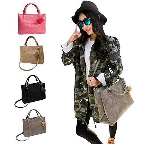 Hrph Frauen Nubukleder PU-Leder-Handtaschen -Marken-Frauen Kuriertaschen Damen Neue Schultertasche Leder-Handtaschen Khaki