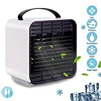 Genround Mini Air Cooler,5 in1 Portable Negative ion fan,Air Purifier/Humidifier/Cooler/Night Light,Mini Air Conditioner USB Charing 3 Speeds,for Personal,Home,Desk,Office,Outdoor,Travel,Beach,Summer