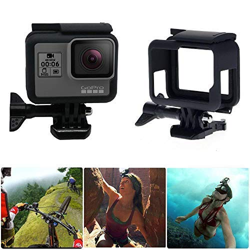 MOGOI Frame Mount für Gopro Hero 5, Black Housing Border Protective Shell Case Accessoires für Go Pro Hero7 Hero6 Hero5 mit Quick Pull Movable Socket und Screw Black Micro Case