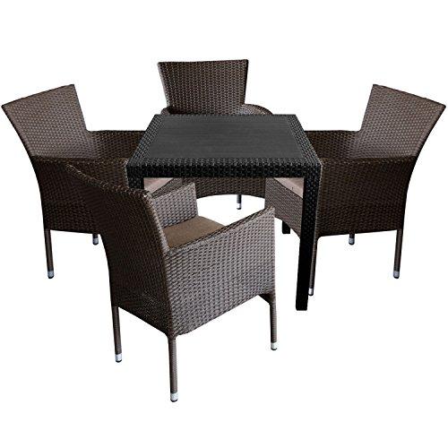 5tlg. Gartengarnitur Gartentisch in Rattan-Optik 79x79cm + Rattansessel, stapelbar, Polyrattanbespannung, braun-meliert inkl. Sitzkissen