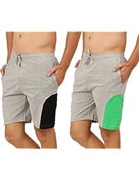 Clifton Men's Shorts MB04 Pack Of 2-Grey Melange-Black-Grey Melange-Deep Green