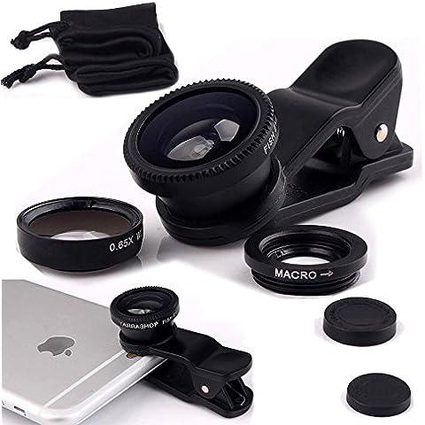 Fone-Case Black Huawei G9 Plus Clip universale Il 3 in 1 Mobile Phone Camera Lens Kit 180 gradi Fisheye + Macro Lens + obiettivo grandangolare per Android e IOS