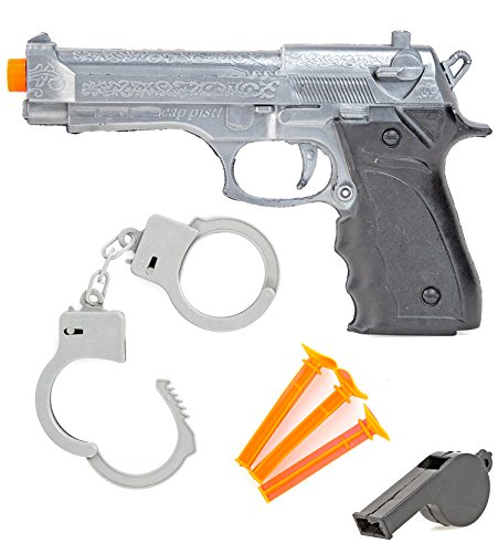 (Western Spielzeug-Pistole mit Saugnapf Pfeilen Handschellen Trillerpfeife Karneval Set Kinder Polizei-Kostüm S-W-A-T Waffe)