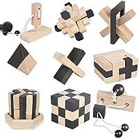 B&Julian ® 3D IQ Holz Puzzle 9 mini Puzzlespiel Knobelspiele Geduldspiel Set Holzknoten Rätselspiel Geschicklichkeitsspiel Ideen Adventskalender Inhalt