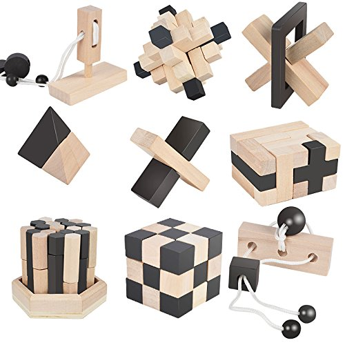 B&Julian 3D IQ Holzpuzzle 9 mini Puzzlespiel Knobelspiele Geduldspiel Set Holzknoten Rätselspiel Geschicklichkeitsspiel Ideen Adventskalender Inhalt