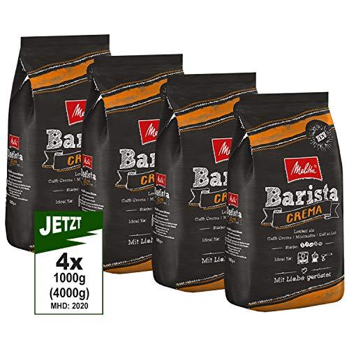 Melitta Barista Crema, Ganze Kaffeebohnen 4x 1000g (4000g) - ausgewogener, harmonischer Kaffee