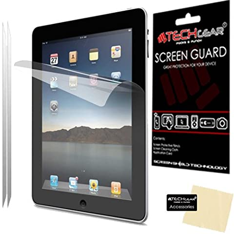 [2 Pack] TECHGEAR® Apple iPad 4 iPad 3 & iPad 2 Clear Screen Protector Guard Covers with Cloth & App Card - for 2nd, 3rd & 4th Generation iPad