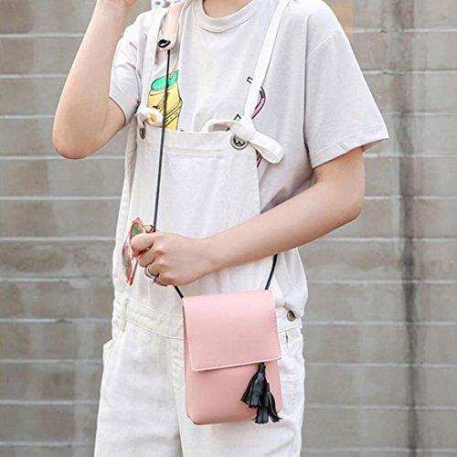 Hunpta Frauen Mode Quaste Handtasche Crossbody Umhängetaschen Rosa