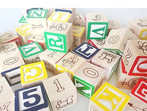 ABC 123 Wooden Blocks Letters Numbers with Box Storage Case, 48 Piece